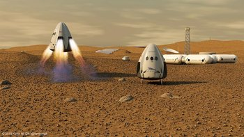 Xl spacex dragon capsule on mars