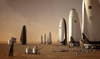 Xl fleet of spacex its spaceships on mars by sam taylor